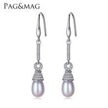 PAG y MAG Marca S925 Pendientes de Plata de ley con 8-9mm de Perlas Naturales Pendientes de Gota Largos para Las Mujeres Caja de Regalo al por mayor Envío