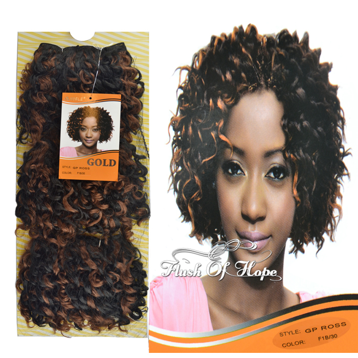 One Pack For Full Style Noble Gold GP Ross Synthetic Hair Weaving Weft Curly Hair Extensions