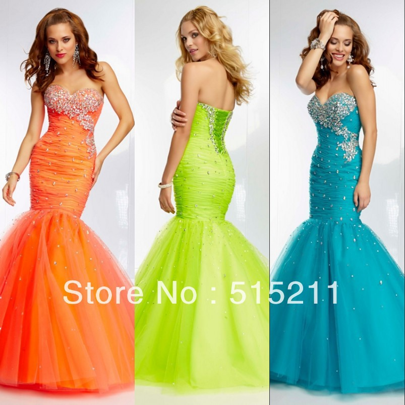 Turquoise and lime green prom dress - Best Dressed