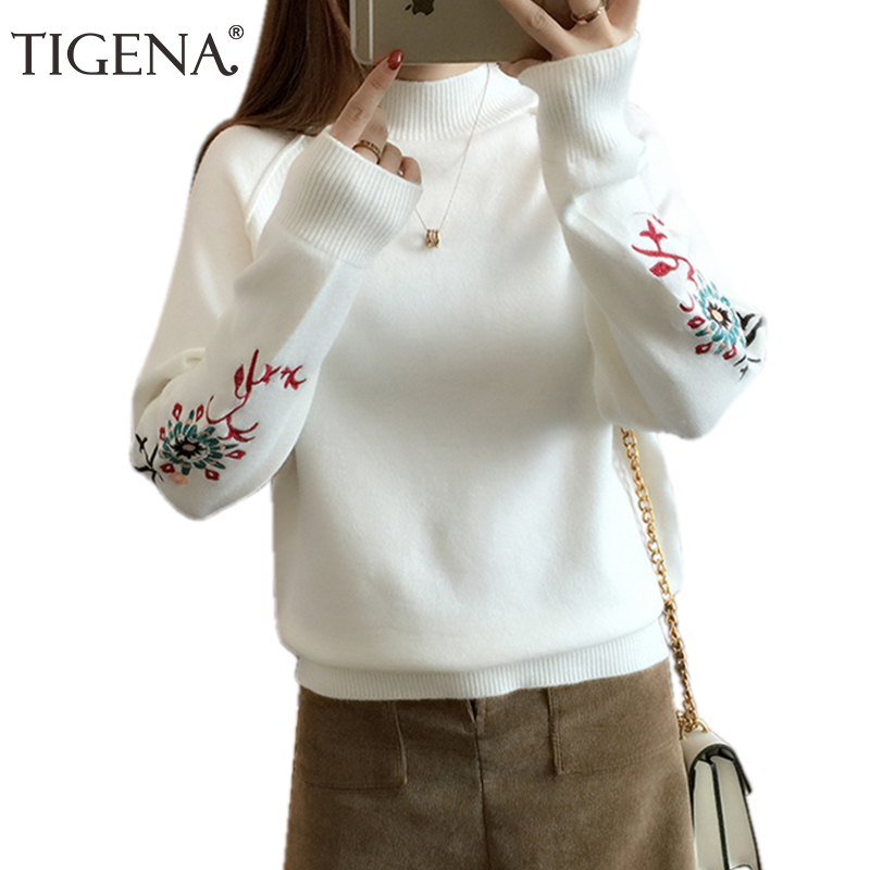 TIGENA Thick Warm Embroidery Knit Sweater Female 2019 Winter Turtleneck Jumper Women Sweater And Pullover Black White Pull Femme