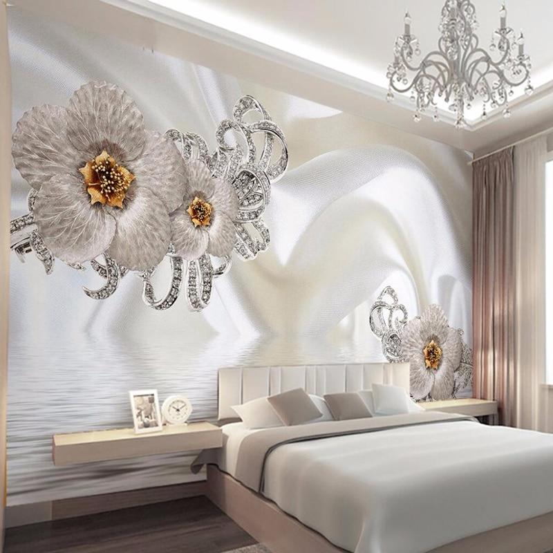 Custom 3D Mural Wallpaper Hand Painted Flowers Silk ...
