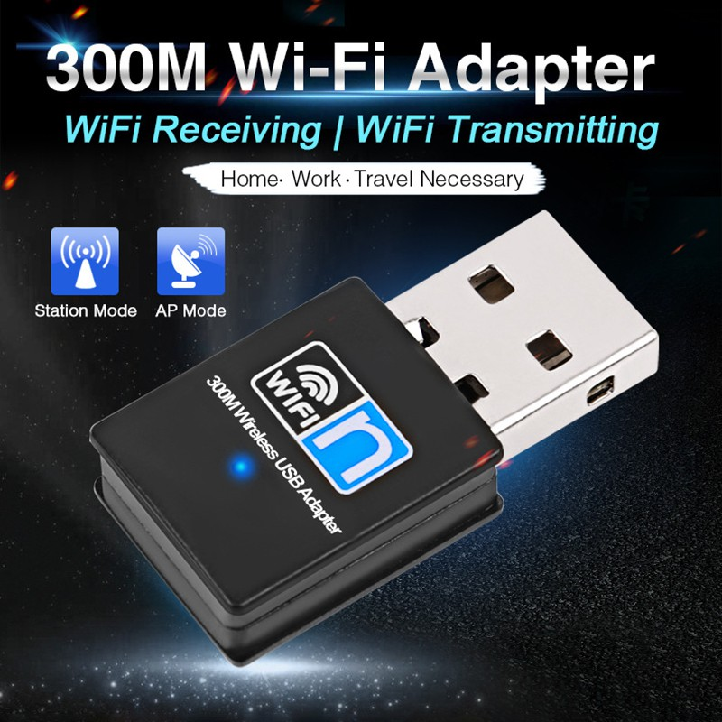 Portable Mini USB Adapter 2.4G Wireless Wifi Receiver Extenal Network Card 300 Mbps For Win 7/ 8/10 Mac OS Linux
