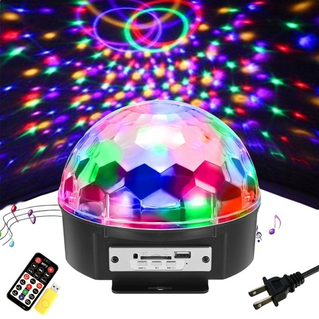 9 Colors 18W DJ Light Sound Active Crystal Magic Ball Disco Ball Led Stage Lights KTV Wedding Party Light with Remote Control