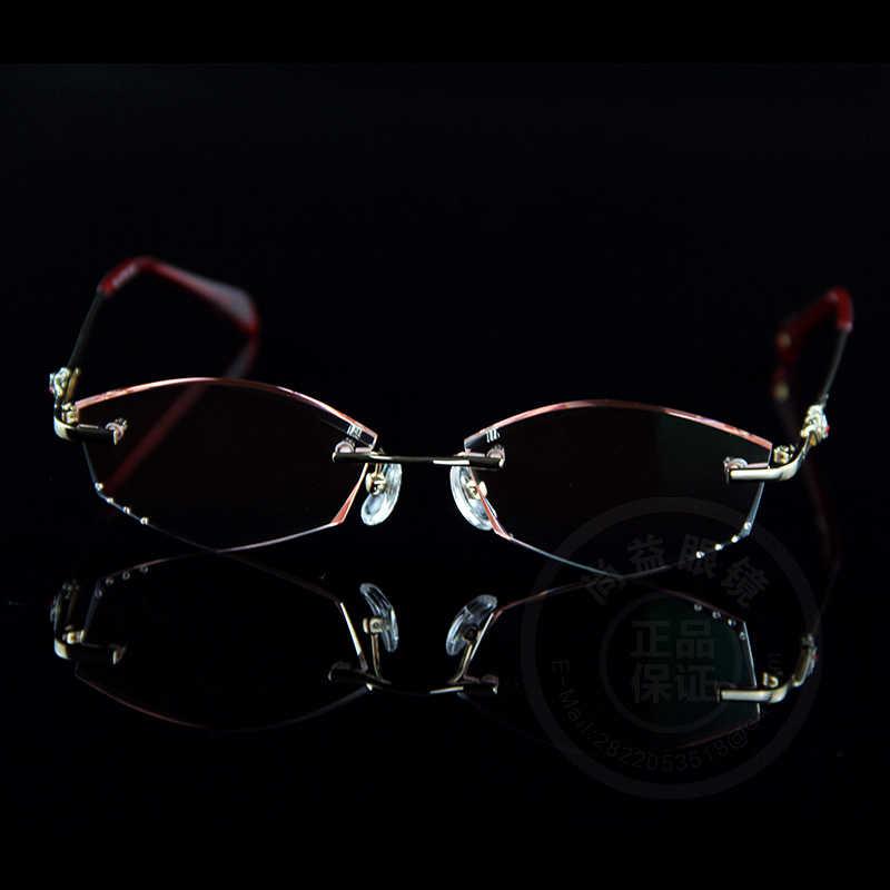 3dd4c9fc8caa ... Women Fashion Reading Glasses Rhinestone Readers Eyewear Computer For  Work Rimless Frame Gold Presbyopic Optical Eyeglasses ...