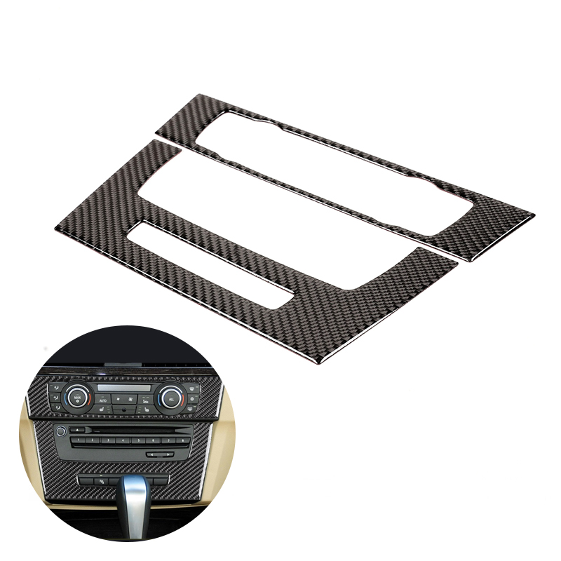 For BMW 3 Series E90 E92 E93 2005   2008 2009 2010 2011 2012 Carbon Fiber 2pcs Car Interior Center Control CD Panel Frame Cover