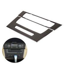 Bmw 3 シリーズ E90 E92 E93 2005   2008 2009 2010 2011 2012 炭素繊維 2 個の車のインテリアセンター制御 cd パネルフレームカバー