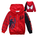 SY024 Free Shipping Retail  Children's Coat Boys Spiderman Embroidered Hoodie Jackets Kids Cartoon Clothes Baby Boys Outerwear
