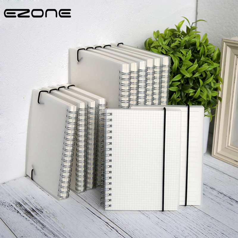 EZONE A5/A6/B5 Transparent Frosted Notebook Line/Dotted/Grid/Blank Pages Coil Notebook PVC Cover Office School Stationery New