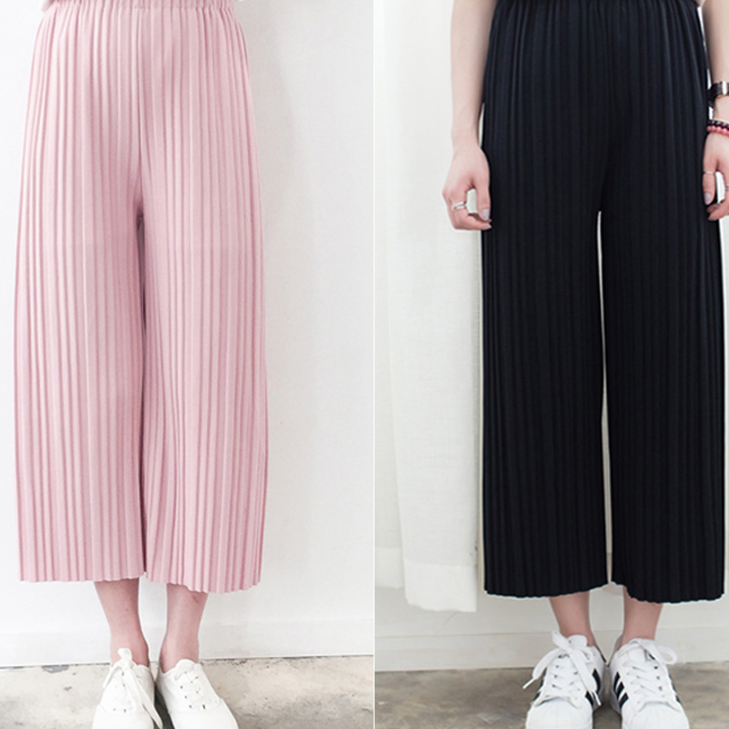 fashion women New Korean version the simple solid color vertical stripes casual pantyhose Pleated   wide     leg     pants