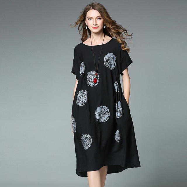 4XL summer dress for women plus size 2017 cotton linen casual party dresses  office lady fashion brand extra large dress 4xl-in Dresses from Women\'s ...