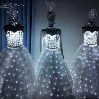 LED Wedding Dress Luminous Suits Light Clothing Glowing Wedding Skirt LED Wings For Women Ballroom Dance Dress