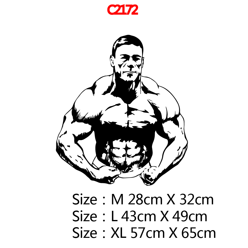Hot Muscle Man Nursery Wall Stickers Vinyl Art Decals Decor Living Room Bedroom Removable Wall Art MURAL vinilo decorativo in Wall Stickers from Home Garden