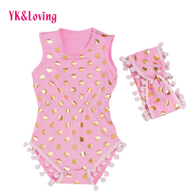 Pink Baby Romper Polka Dot  Baby Girl Clothing 2Pcs Jumpsuit with Headband Infantil Clothes for 0-2years 2017 New Arrival