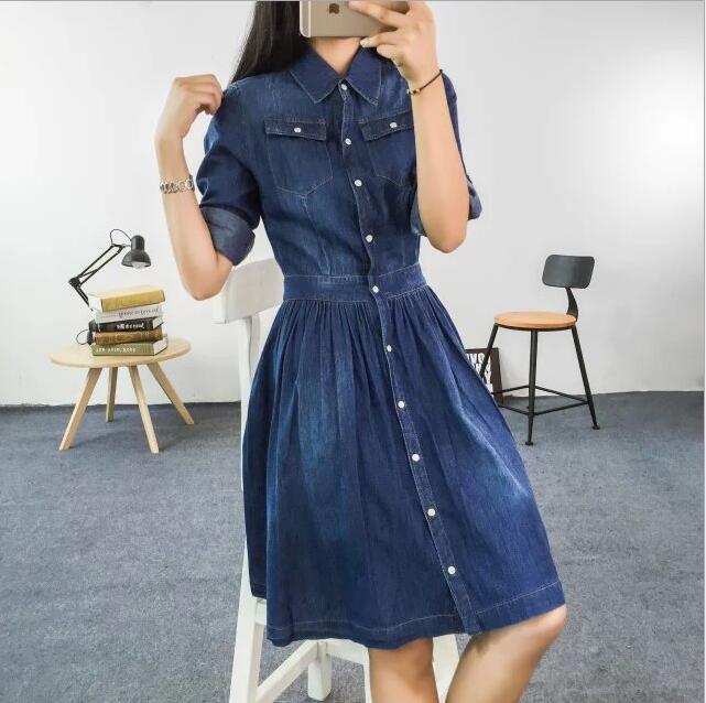 LIWA 2017 printemps et automne femmes robe rétro bleu Denim robe à manches longues col rabattu Vestidos grandes tailles ~ 4XL D20