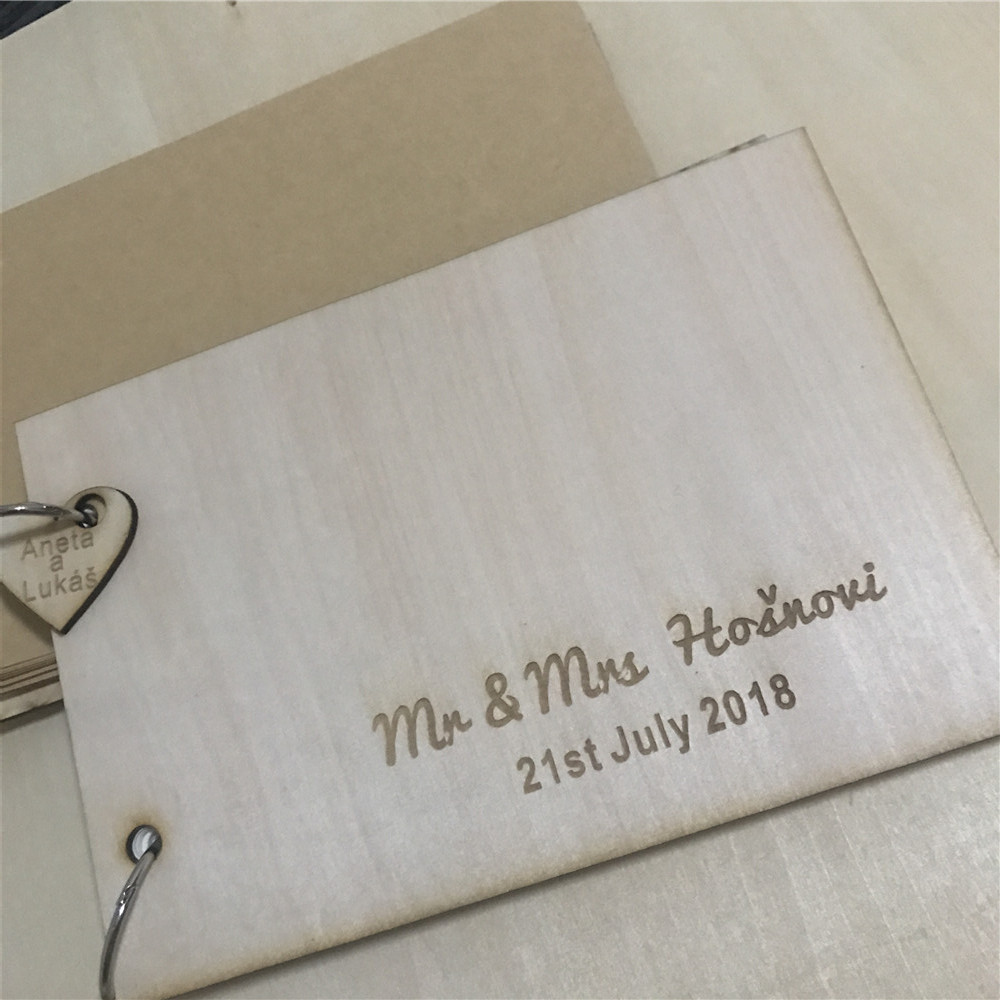 Personalized wooden guest book with names engraved guest book wedding memory book woodland guestbook photo guestbook sign Book