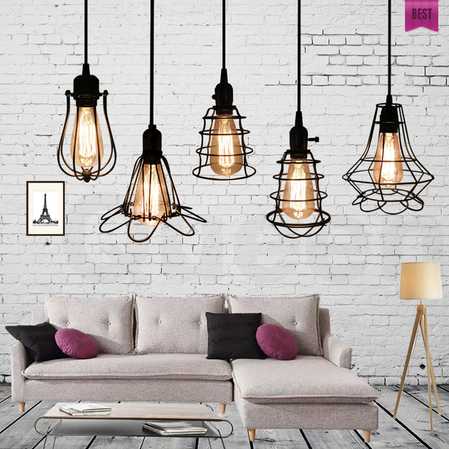 Modern Loft Pendant Lights Retro Industrial Edison Vintage Lamp Shade Iron  Cage Lampshade Dining Room Home