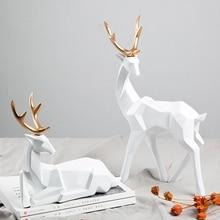 Подарок в скандинавском стиле, 3D твердые геометрические украшения на удачу с оленем, полимерное ремесло, мебель для украшения дома, офисные настольные фигурки