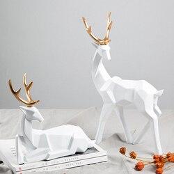 Regalo de estilo nórdico 3D geometría sólida ciervos de la suerte adornos artesanales de resina muebles para el hogar para decoración figuras de escritorio de oficina