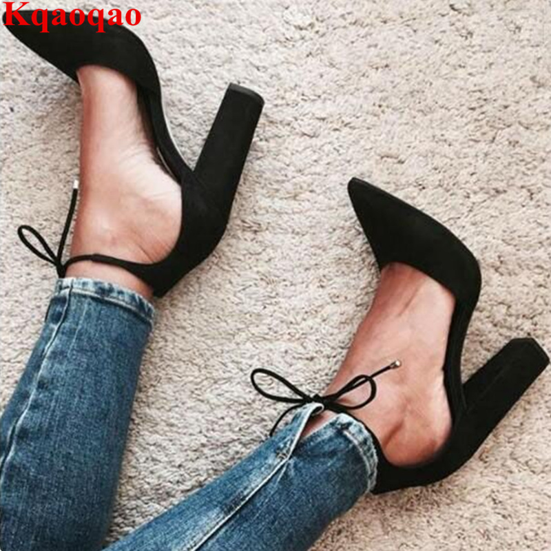 Pointed Toe Ankle Strap Women Pumps High Thick Heel Lace Up Shoes Roman Stylish Suede Wedding Party Brand Fashion Zapatos Mujer цена