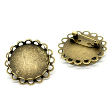 20Pcs Bronze Tone Round Flower Cabochon Setting Brooches Back Pin Support de Broche 32mm Fit Cameo 25mm