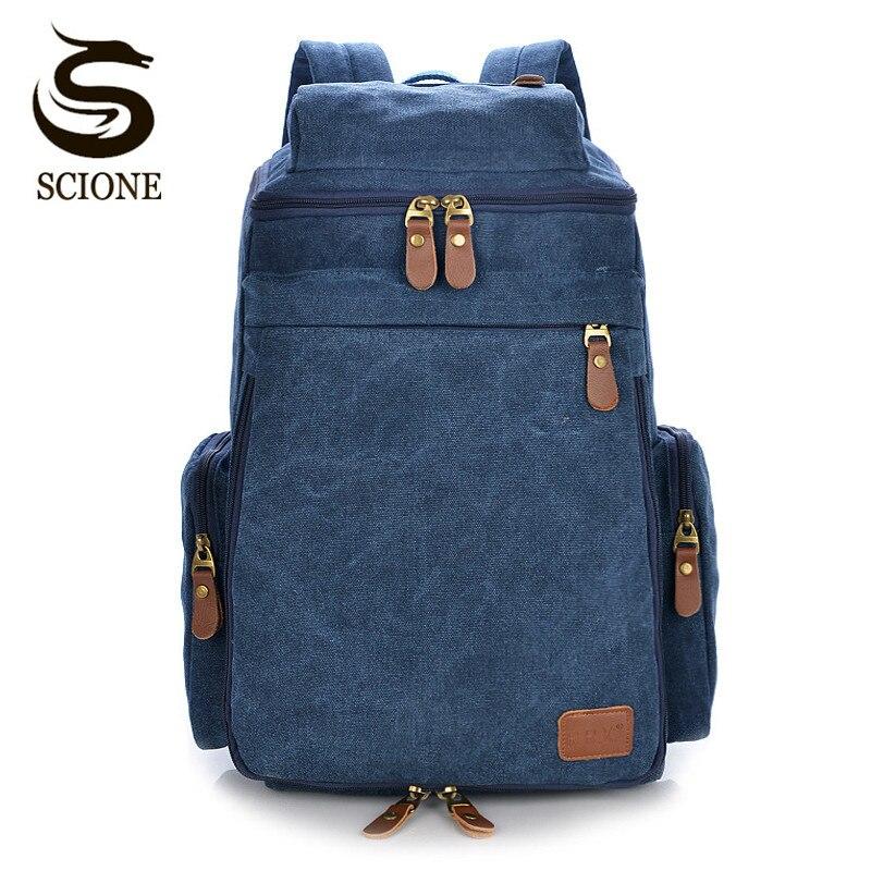 Scione Large Capacity Vintage Mens Backpack Retro Male Shoulder Bag Unisex Travel Backpack Women Big Bag Backpack Men's Bag Pack
