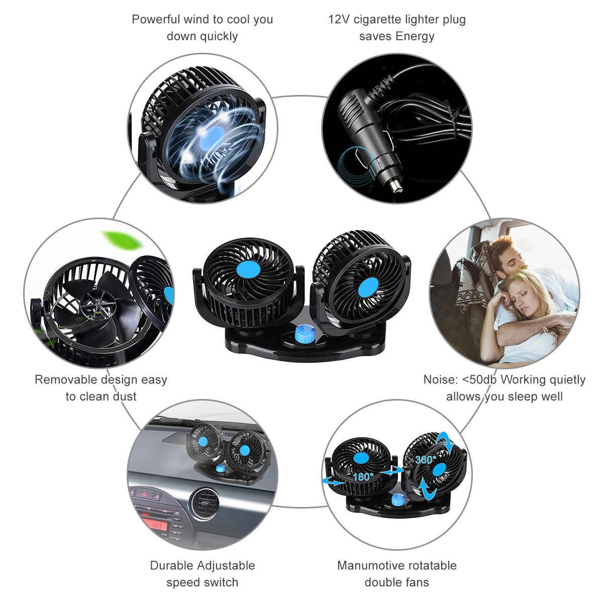12 в 360 градусов круглый регулируемый для автомобиля вентилятор охлаждения с двумя головками низкий уровень шума автомобильный холодильник воздушный вентилятор автомобильные аксессуары