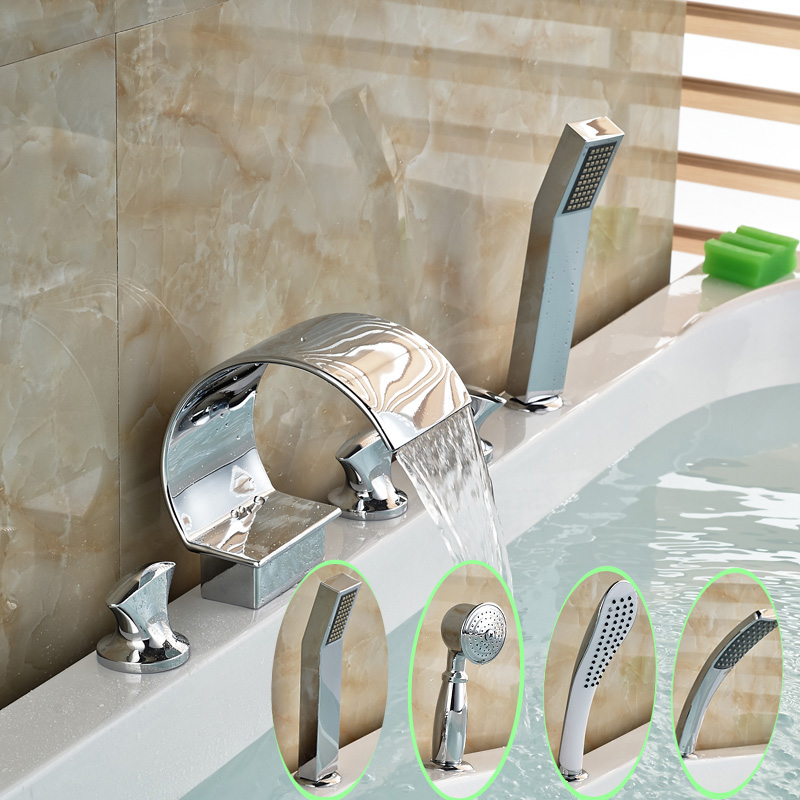 Deck Mounted 5Pcs Waterfall Spout 3 Handle Bathroom Bathtub Mixer Faucet Chrome Finish + Handshower free shipping polished chrome finish new wall mounted waterfall bathroom bathtub handheld shower tap mixer faucet yt 5333