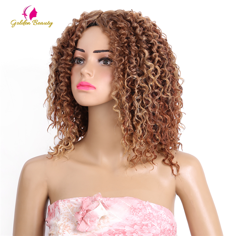 Golden Beauty 2pcs pack 10 inch Kinky Curly Weaving Hair Synthetic Hair Wefts Sew in Hair