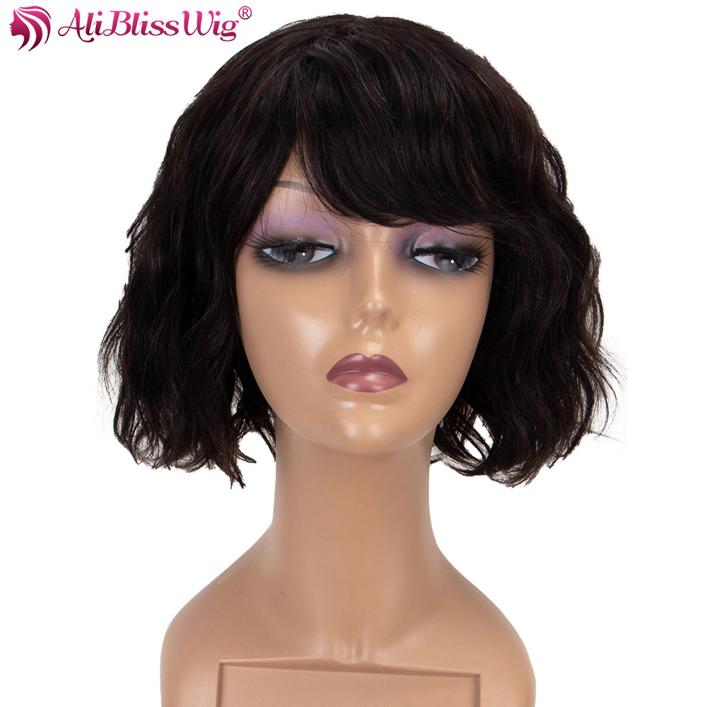 Just Sapphire Hair 130% Density Short Wig Brazilian Ocean Wave Human Hair Wigs For Women Natural Black Remy Human Hair Free Shipping Lace Wigs Hair Extensions & Wigs