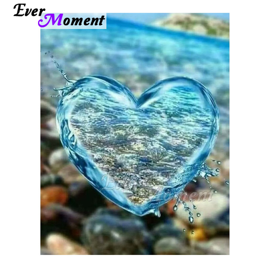 Ever Moment Diamond Painting Water Drop Heart Stone Picture Of Rhinestone Mosaic Full Square Drill Diamond Embroidery ASF1079