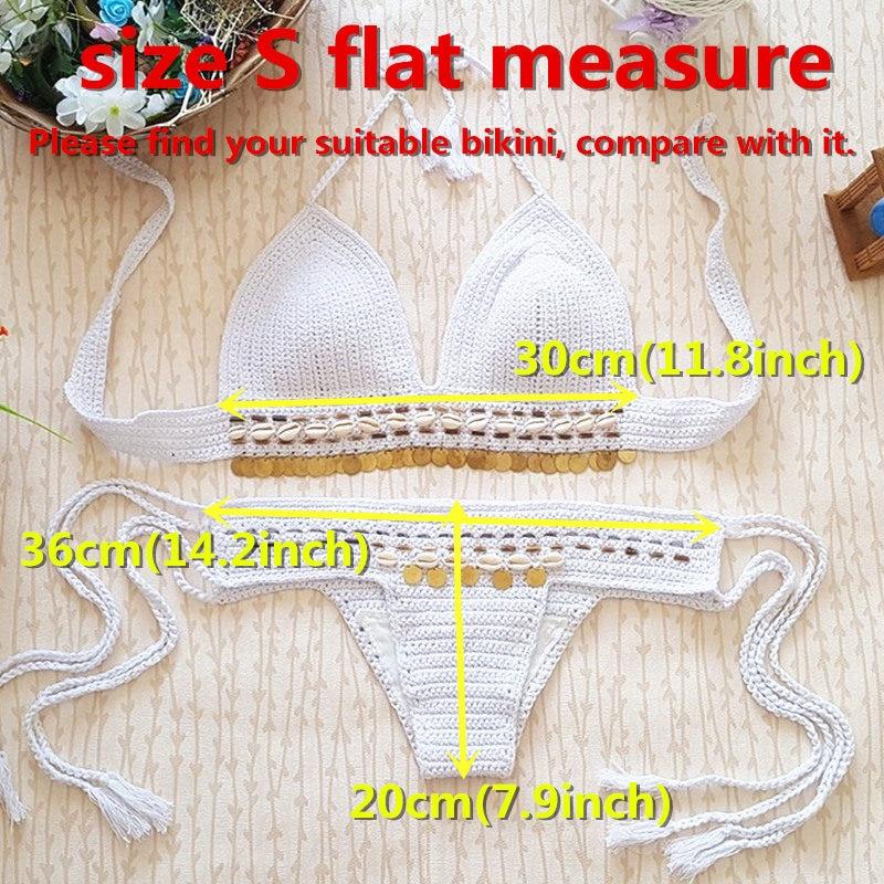 Nueva caqui Crochet Bikini partido femenino ajustable traje de baño ...