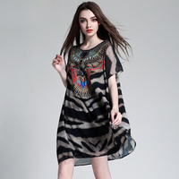 Elegant Women Leopard Print Loose Dress Plus Size XL 4XL Fashion Lady S Pattern Chiffon Summer