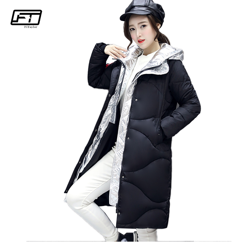 Fitaylor 2017 Fashion Hooded Parka Mujer Solid Black Cotton Padded Coat Jacket Women Elegant Casual Winter Medium Long Jackets nike alliance parka 550 hooded