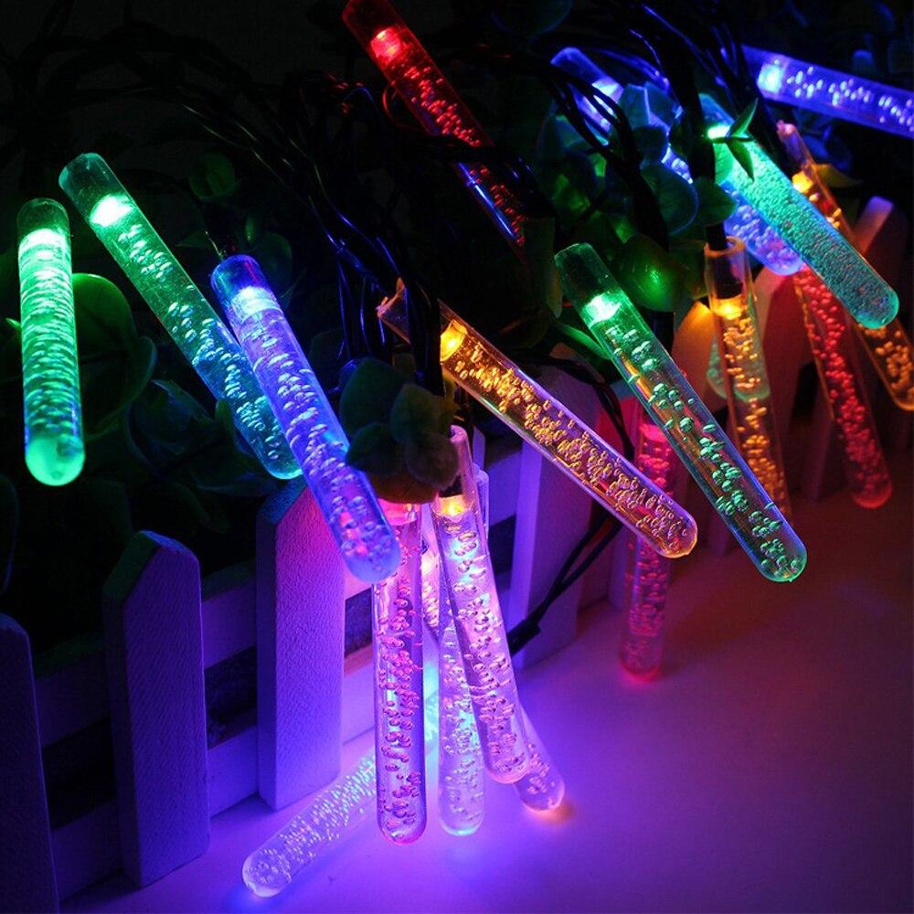 Открытый 20 LED Ice пузырь столбца Водонепроницаемый строка Солнечный свет лампы Водонепроницаемый Строка Фея свет гирлянда Свадебная вечерин...