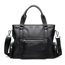GSQ Genuine Leather Men Handbag Classic High Quality Leather Bag Business Men Bag 14inch Laptop Briefcase Messenger Bag G637