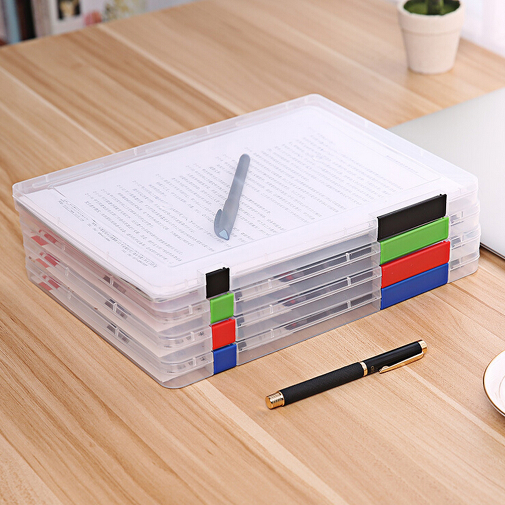 Fashion Style A4 Transparent Storage Box Clear Plastic Document Paper Filling Case File Pp Office Organizer Invisible Storage Cases 3 Colors Making Things Convenient For The People Desk Accessories & Organizer