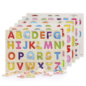 Image 1 - 30cm Kid Early educational toys baby hand grasp wooden puzzle toy alphabet and digit learning education child wood jigsaw toy