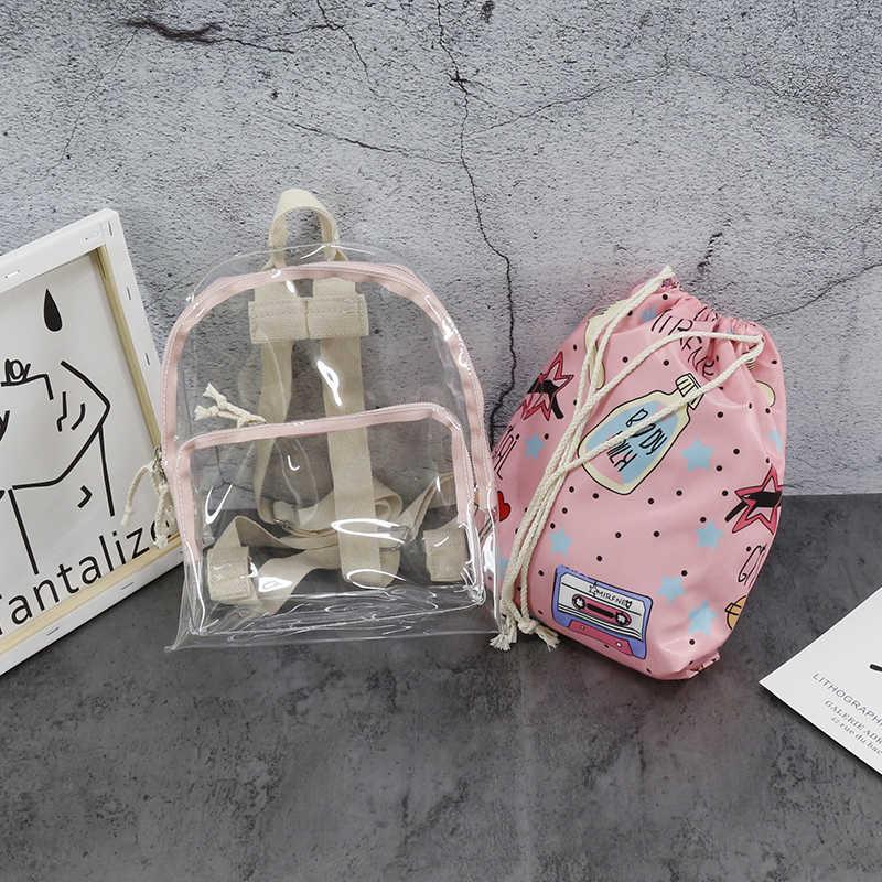 50% скидка прозрачный женский рюкзак модный ПВХ женский Принт рюкзаки Подростковая школьная сумка однотонная прозрачная сумка на плечо 466