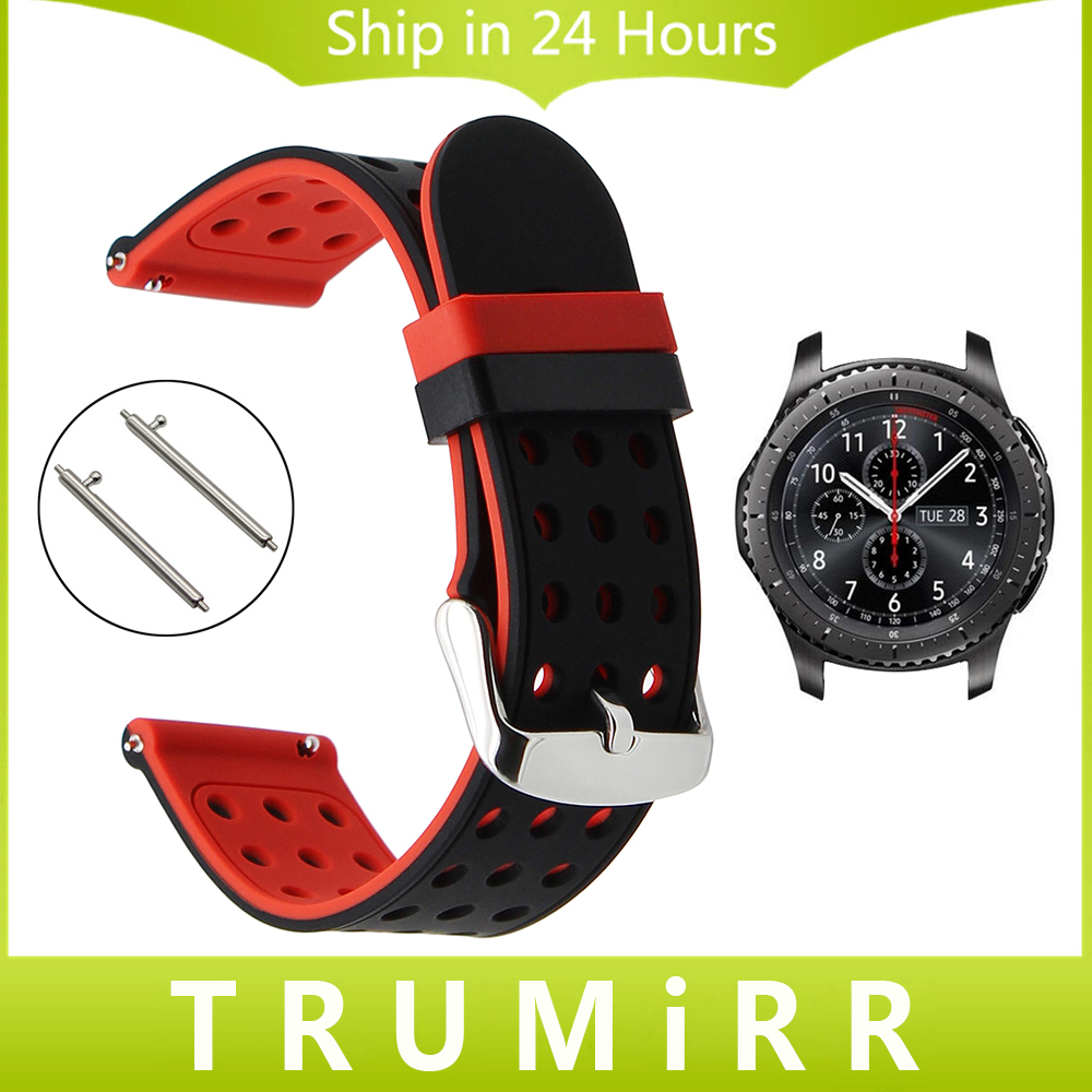 Quick Release Silicone Rubber Watchband 22mm for Samsung Gear S3 Classic Frontier Watch Band Sports Wrist Strap Black Red Blue 22mm sports silicone strap for samsung gear s3 frontier band for gear s3 classic rubber watchband replacement wristband