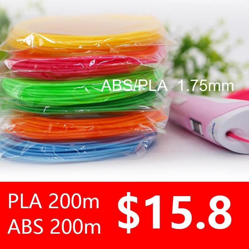 3d pluma filamento ABS/PLA 1,75 MM 200 M 20 perfecto color 3d bolígrafos de plástico de seguridad ambiental de cumpleaños regalo de precio más bajo