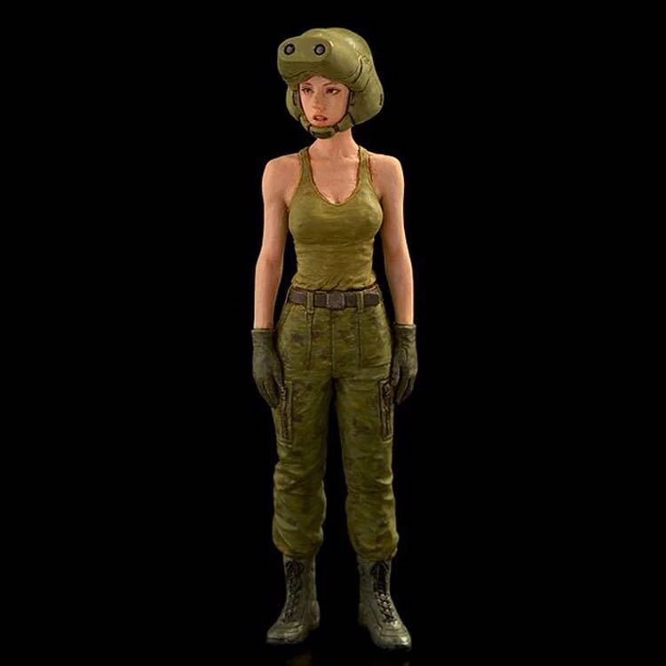 1/35 scale  resin warrior science fiction female driver model figures