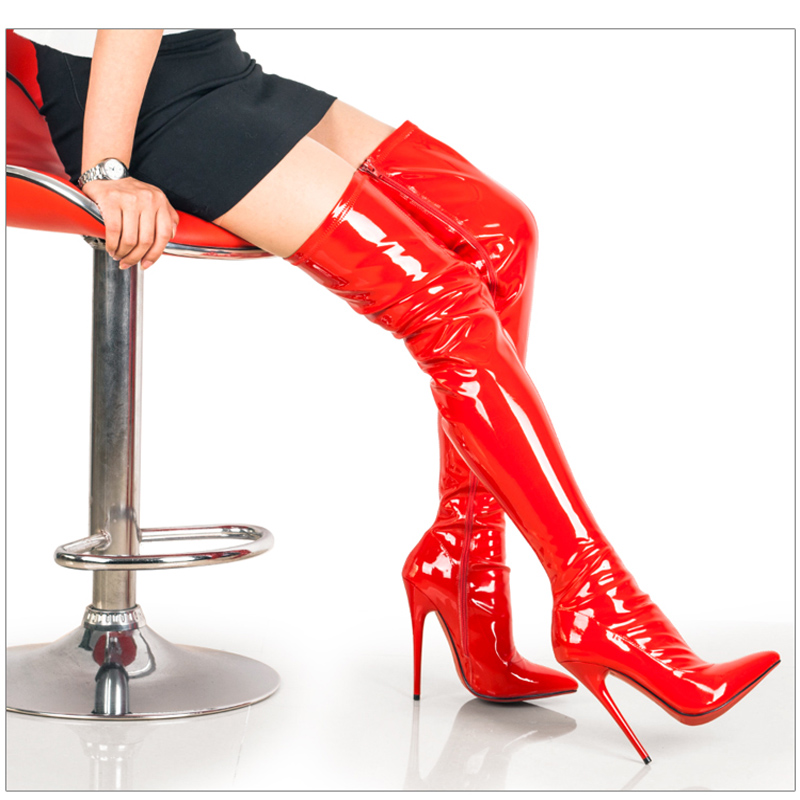 Hot Sale Pointed Toe Stiletto Heel Women Boots New Arrival Patent Leather Thigh High Botas Mujer Autumn Winter Dress Shoes Women