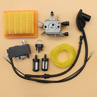 Carburetor Ignition Coil Primer Bulb Air Filter Fuel Hose Tune Up Kit Fit STIHL FS120 FS200 FS250 Trimmer Brushcutter