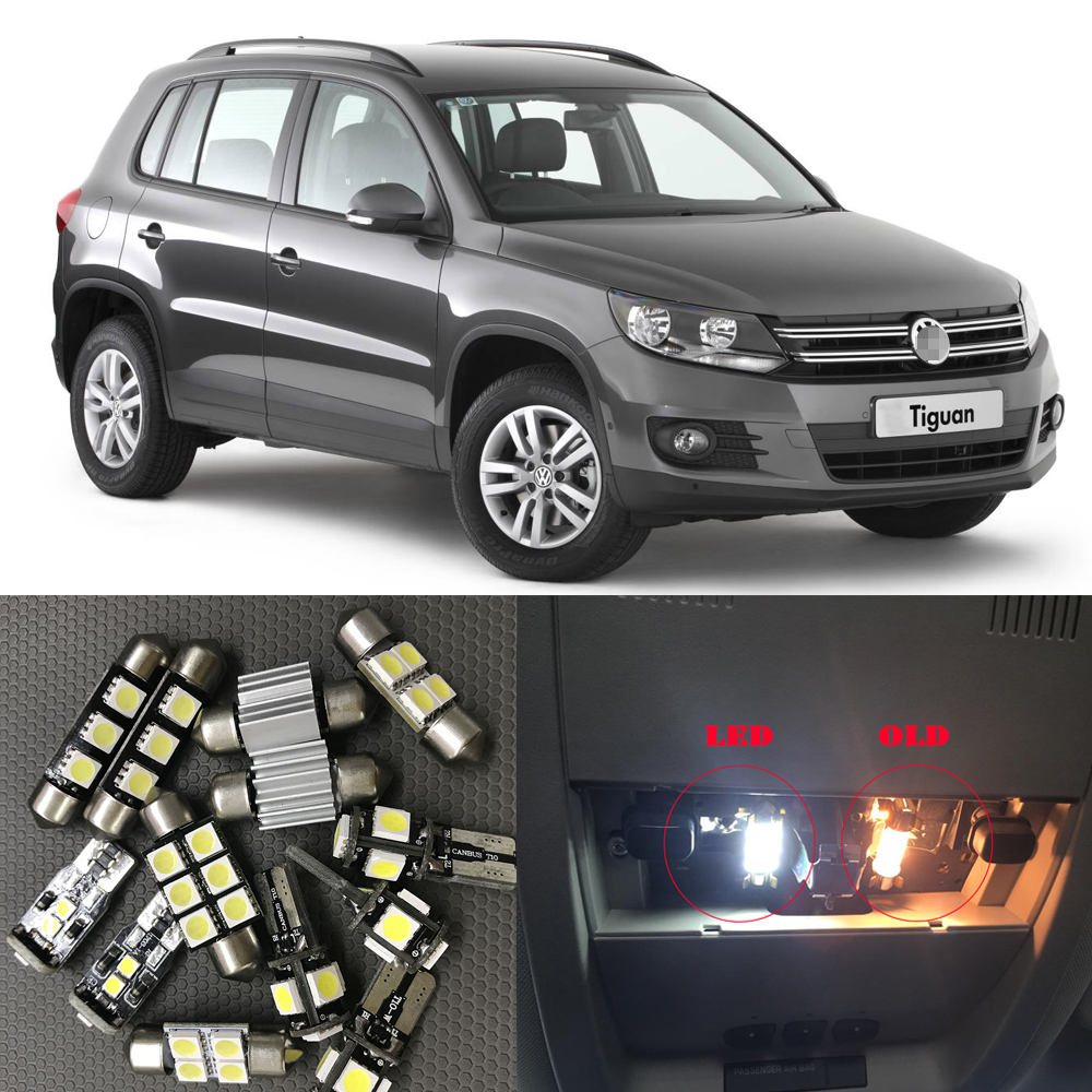 14pcs White Auto Interior LED Light Bulbs Canbus Kit For 2009 2010 1011 2012 VW Tiguan Map Dome License Plate Light Car styling 13pcs canbus car led light bulbs interior package kit for 2006 2010 jeep commander map dome trunk license plate lamp white page 3