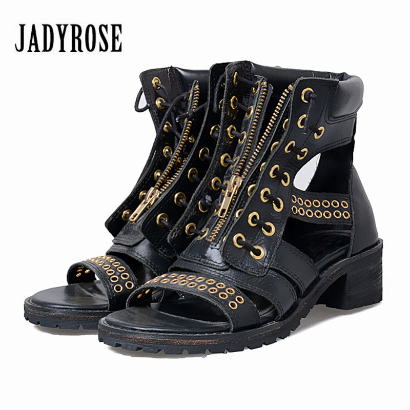Jady Rose Black Female Gladiator Sandals Square Heel Genuine Leather Sandalias Mujer Platform Women Pumps Front Zip Summer BootsJady Rose Black Female Gladiator Sandals Square Heel Genuine Leather Sandalias Mujer Platform Women Pumps Front Zip Summer Boots