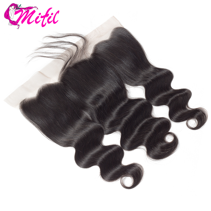 Mifil Hair Indian Body Wave Frontal Closure With Baby Hair 100% Non Remy Human Hair 13x4 Ear To Ear Lace Frontal Closure(China)