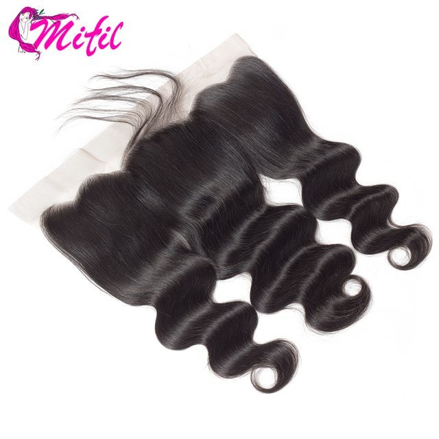 Mifil Hair Indian Body Wave Frontal Closure With Baby Hair 100% Non Remy Human Hair 13x4 Ear To Ear Lace Frontal Closure