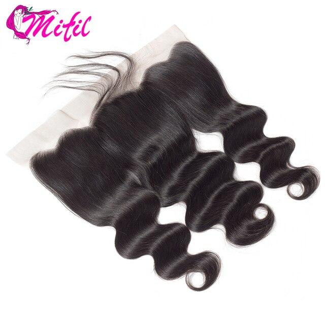 Mifil волосы индийские волнистые фронтальные Закрытие с волосами младенца 100% не Реми человеческие волосы 13x4 уха до уха Кружева Фронтальная Закрытие