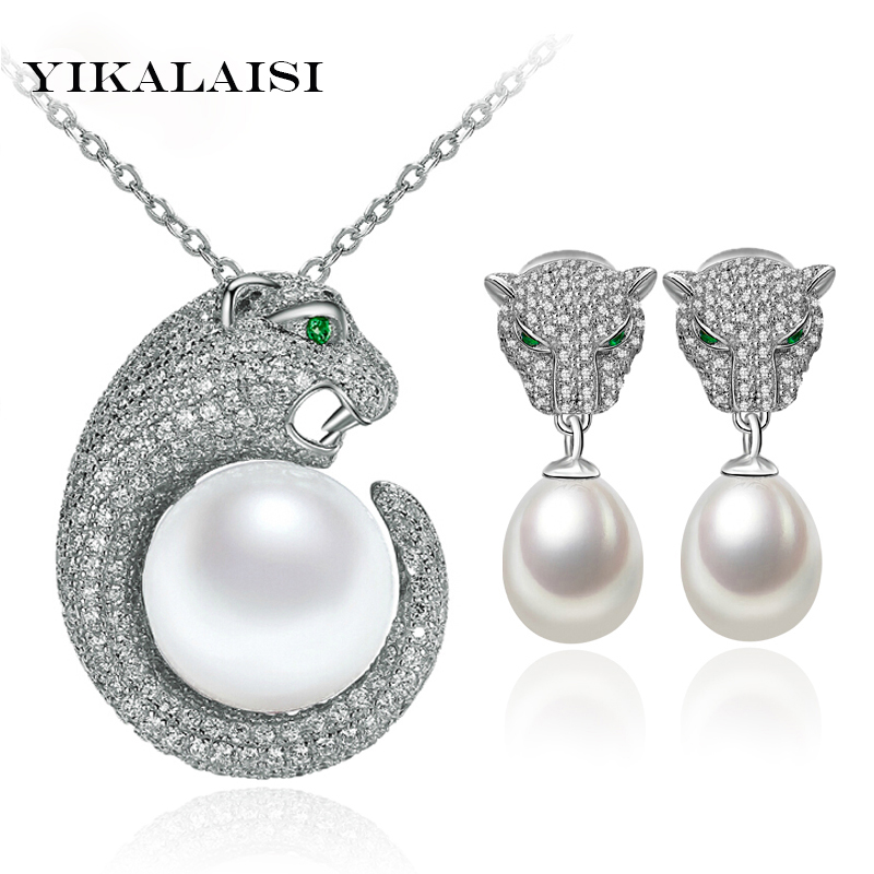 YIKALAISI 2017 100% Natural Freshwater Pearl jewelry Set Pendant and Earrings 925 Sterling Silver jewelry For Women Best Gifts yikalaisi 2017 natural freshwater pearl necklace sets pendant drop earrings 925 sterling silver jewelry for women best gifts