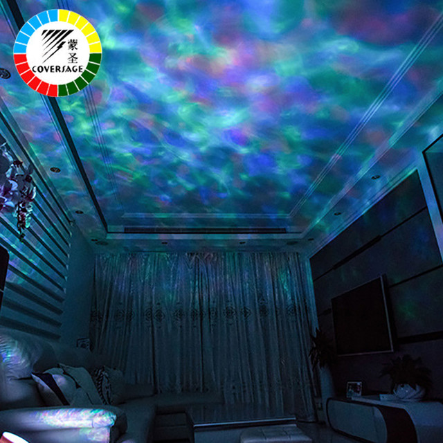 Coversage Ocean Wave Projector Remote Control TF Cards Music Player Speaker LED Night Light Aurora Master Projection Kids USB